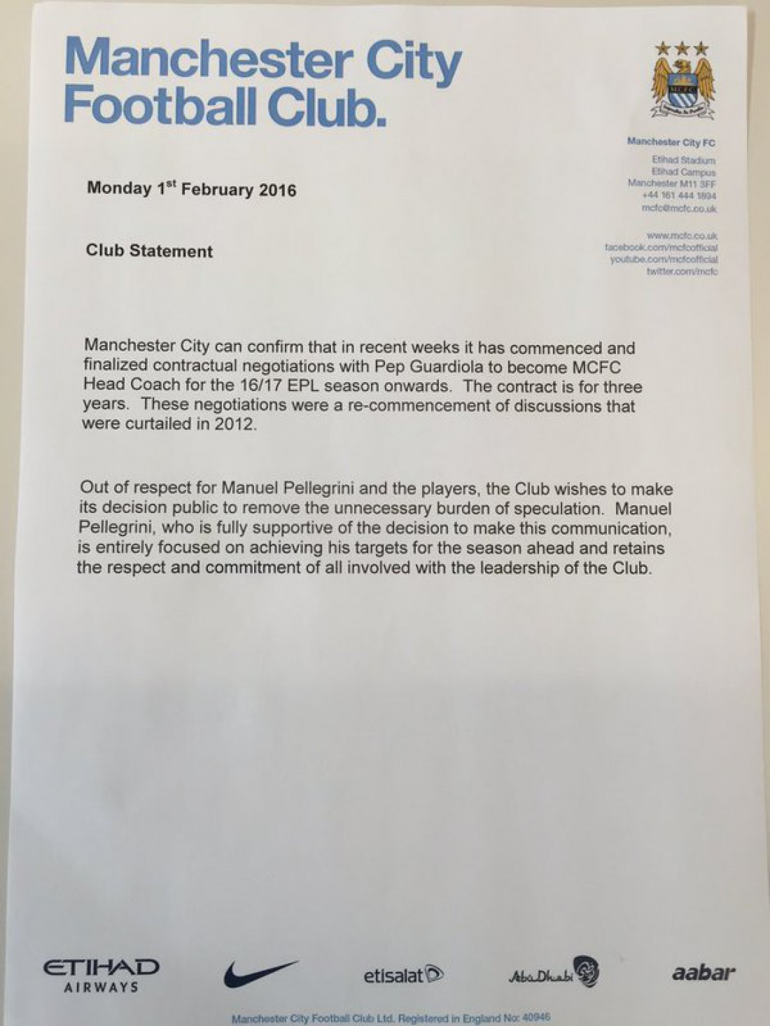 Официальное письмо подтверждающие назначение Гвардиолы