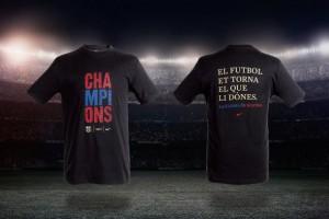 Барселона выпустила специальные футболки по случаю победы в ЛЧ.