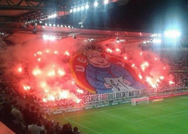 Перфоманс фанов Легии против UEFA