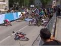 Видео жуткого падения на финише Тура Словении