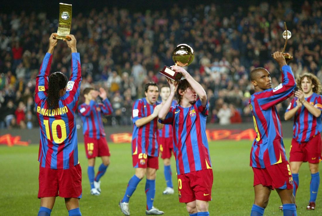 2005 год Месси (по центру) с наградой Golden Boy