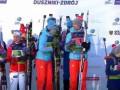 Украинские биатлонисты ушли с пьедестала, когда заиграл гимн России
