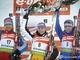 Все победительницы персьюта на 10 км: Мартина Бек в окружении россиянок Юрьевой и Слепцовой