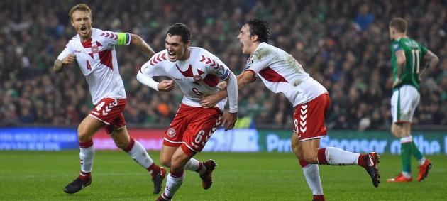 Сборная Дании разгромила команду Ирландии и вышла на ЧМ-2018