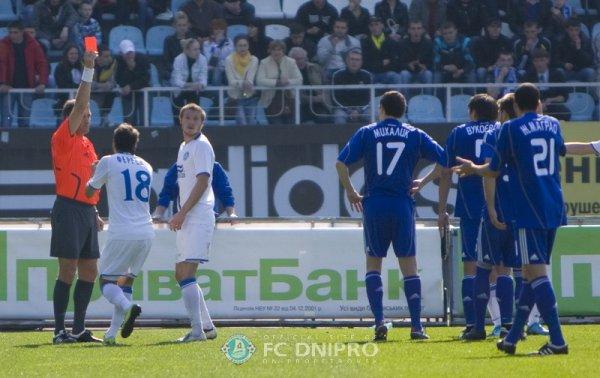 Спорное удаление Мандзюка в матче с Динамо