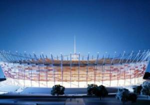 Евро-2012: На стадионе в Варшаве проверили освещение фасада