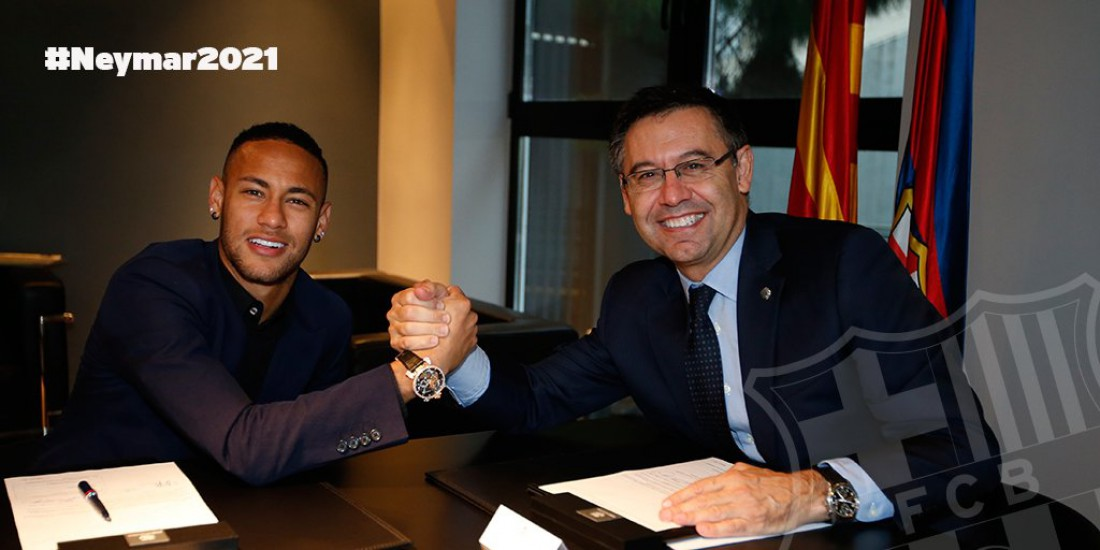 Нападающий Неймар подписал новое соглашение сФК «Барселона»