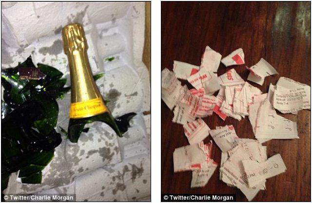 Чарли в Twittere запостил фото с разбитой бутылкой Veuve Clicquot и чеки от ставок