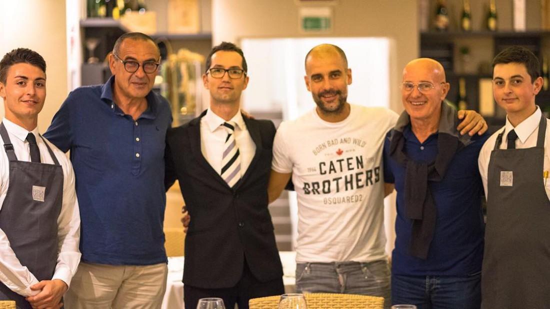 Маурицио Сарри, Хосеп Гвардиола и Арриго Сакки на отдыхе в Италии