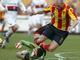 Маленький подвиг: Кипер Дженоа Рубиньо пытается спасит команду от верного гола