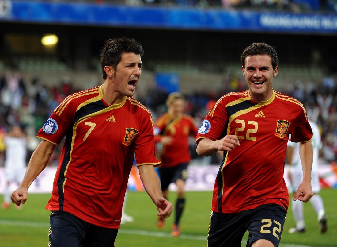 Давид Вилья и Хуан Мата в сборной Испании