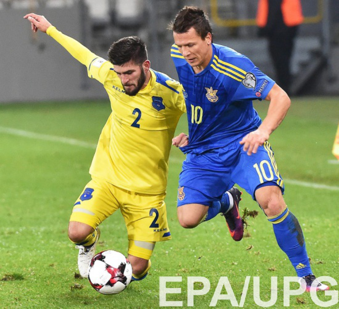 Евгений Коноплянка в матче с Косово