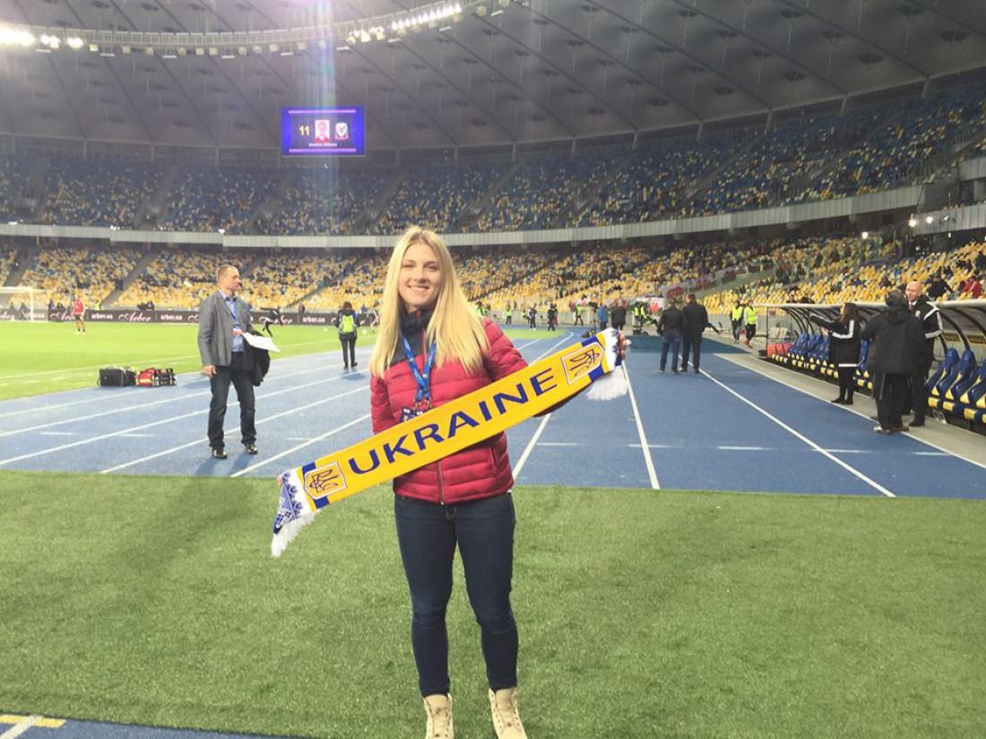 Ольга Харлан посетила матч сборной Украины против команды Уэльса