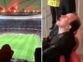 Фанат Арсенала уснул на трибунах на матче с Атлетико
