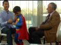 Сын Криштиану Роналду во время интервью отца вышел в костюме Супермена