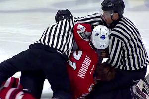 Видео драки хоккеистов во время матча УХЛ