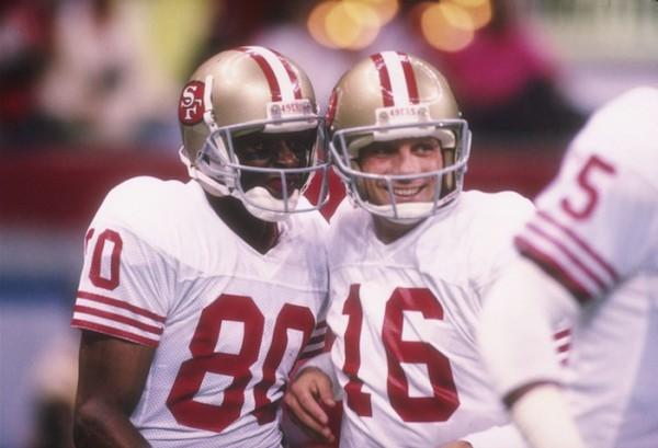 Ресивер Джерри Райс и квотербек Джо Монтана - величайшие игроки из непобедимых 49ers 1980-х годов