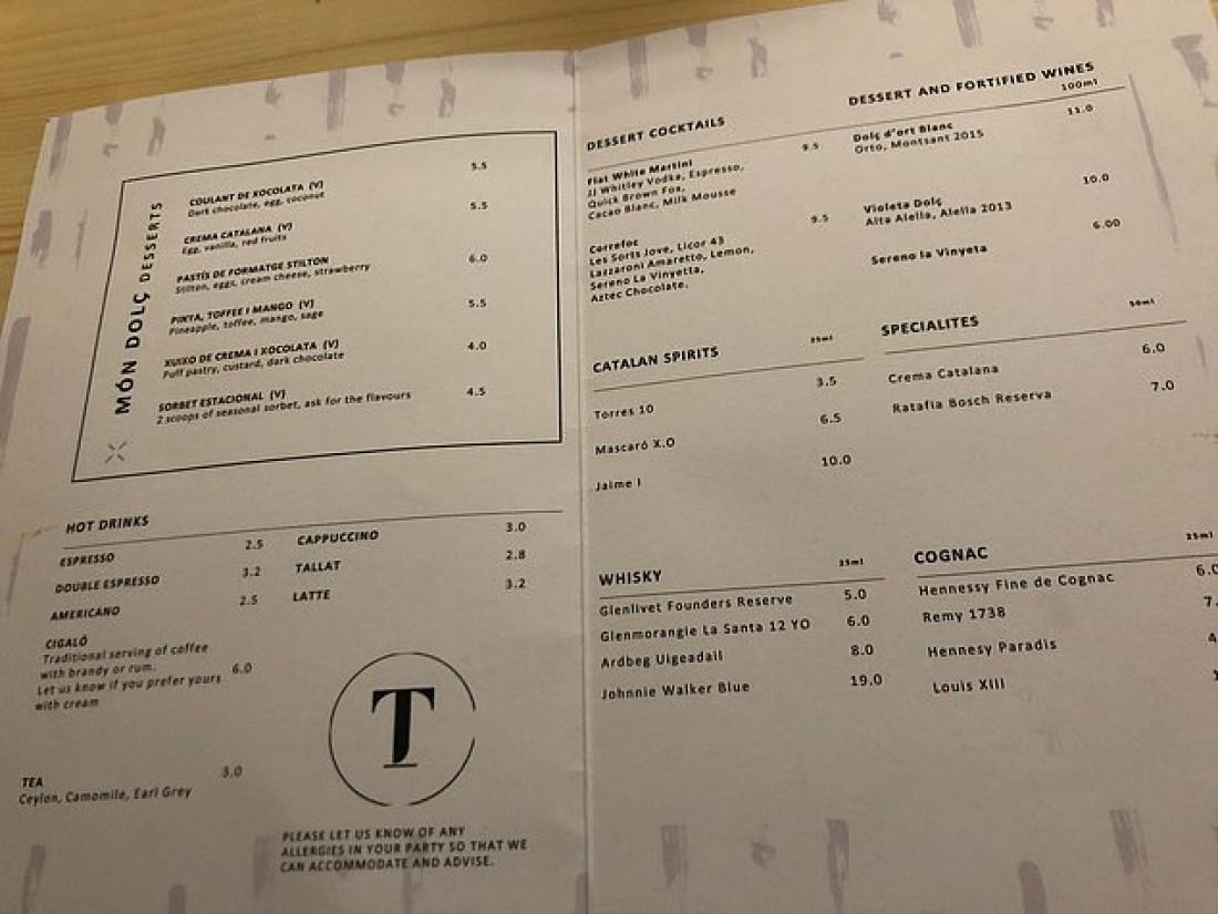 Алкогольное меню в ресторане Гвардиолы