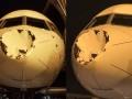 Самолет Тандер получил огромную вмятину во время полета