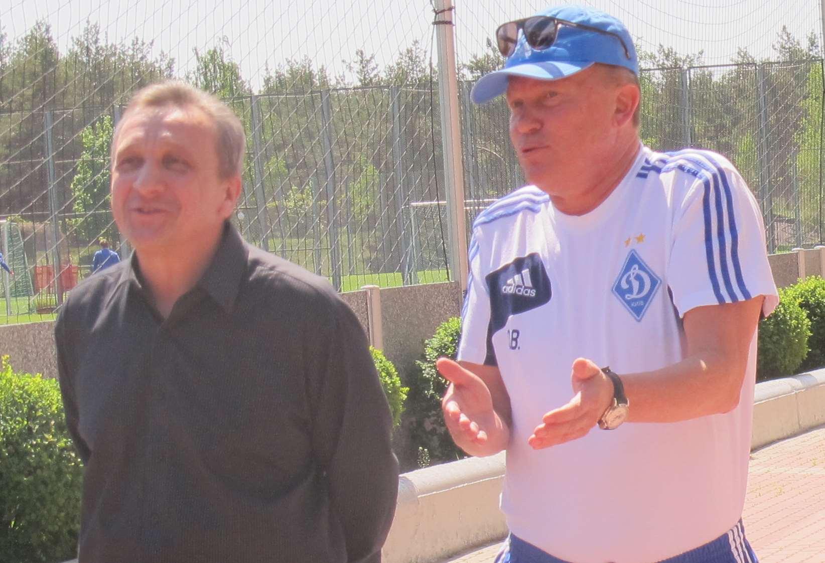 Вице-президент Динамо Алексей Семененко и главный тренер Динамо Олег Блохин