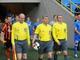 Евгений Геренда выводит команды на матч / Фото Пресс-службы ФК Шахтер