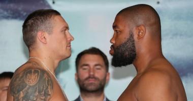 Усик - Уизерспун: боксеры провели финальную дуэль взглядов
