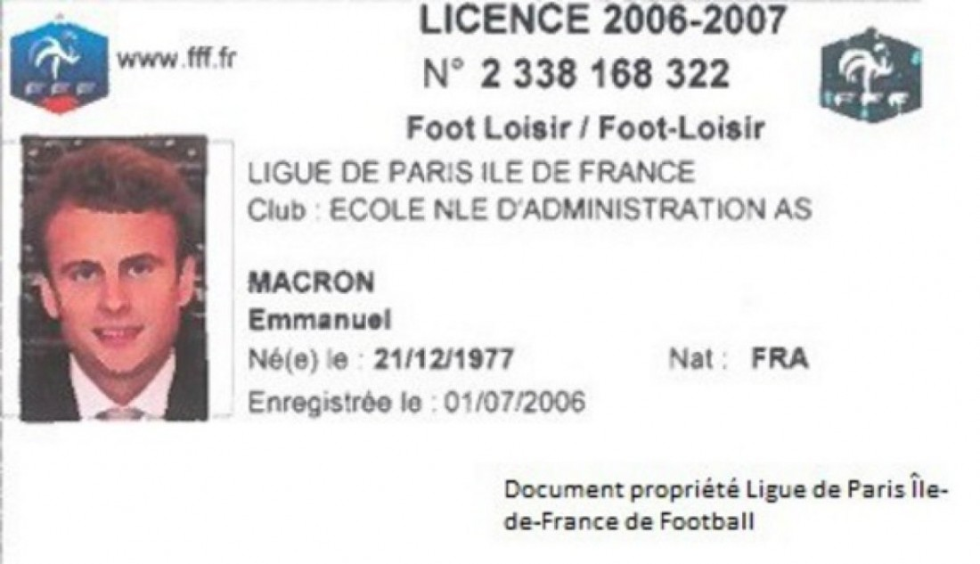 Карточка футболиста Эммануэля Макрона