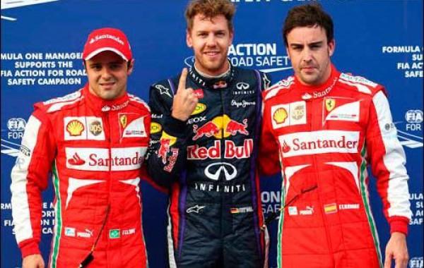 Феттель в воскресенье будет стартовать перед пилотами Ferrari