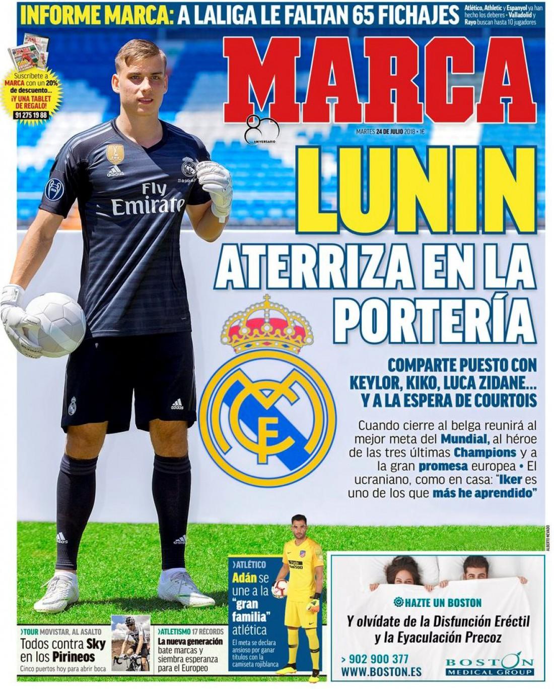 Андрей Лунин попал на обложку Marca