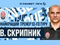 Скрипник признан лучшим тренером 12-го тура чемпионата Украины