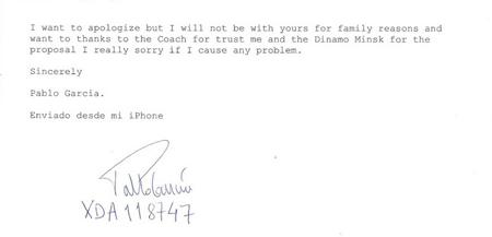 Текст письма Пабло Гарсии