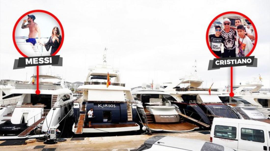 Пришвартованные яхты Лионеля Месси и Криштиану Роналду