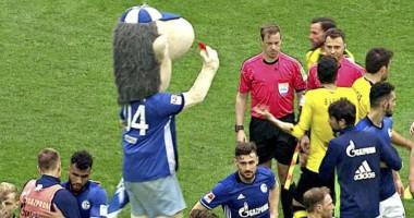 Маскот Шальке показал судьям красную карточку после игры с Боруссией