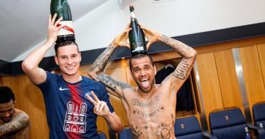 Реки шампанского: Игроки ПСЖ бурно отпраздновали досрочное чемпионство