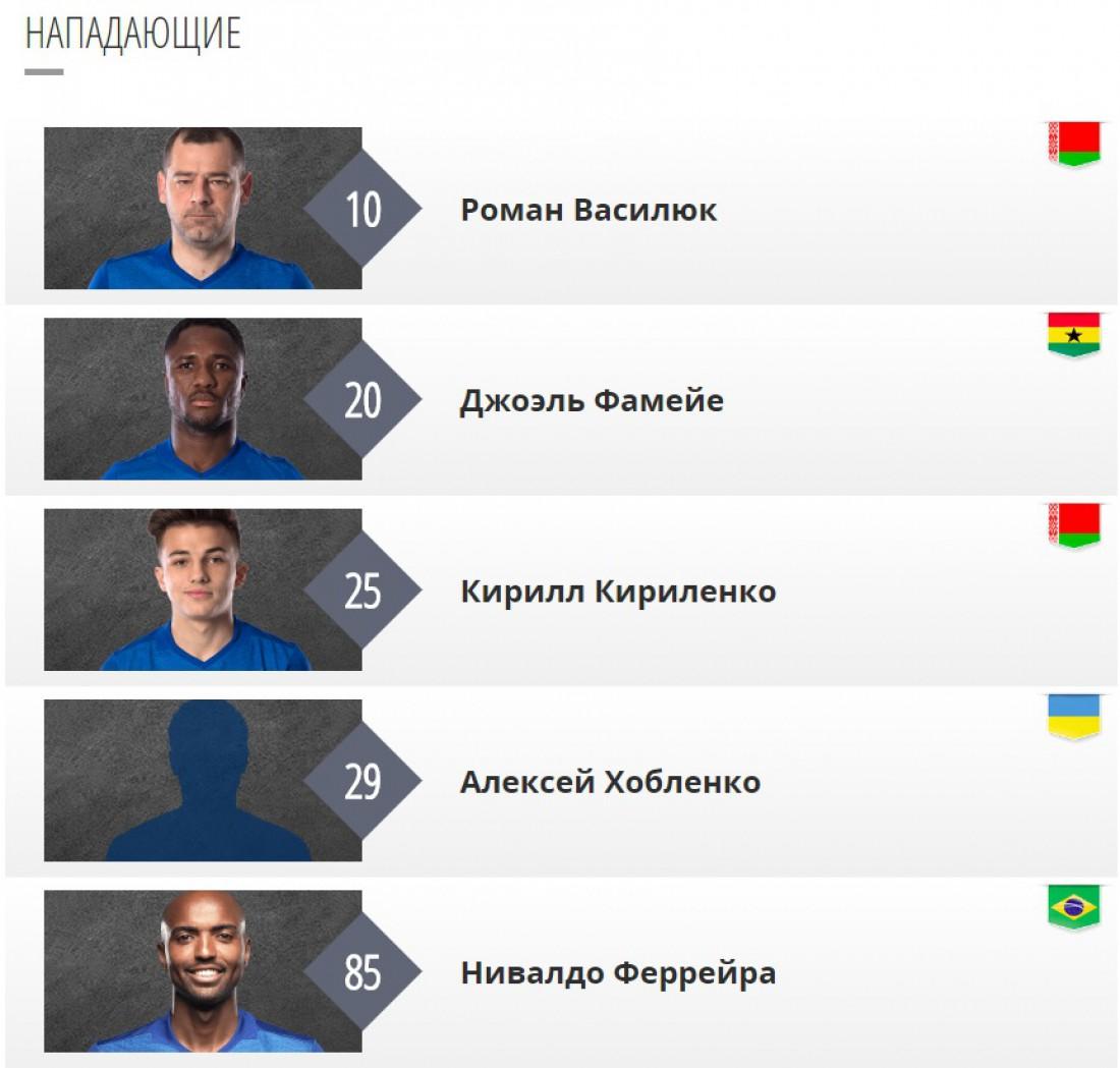 Обновленный список нападающих Динамо-Брест