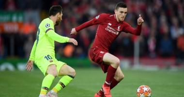 Робертсон ударил Месси по голове во время матча Ливерпуль - Барселона