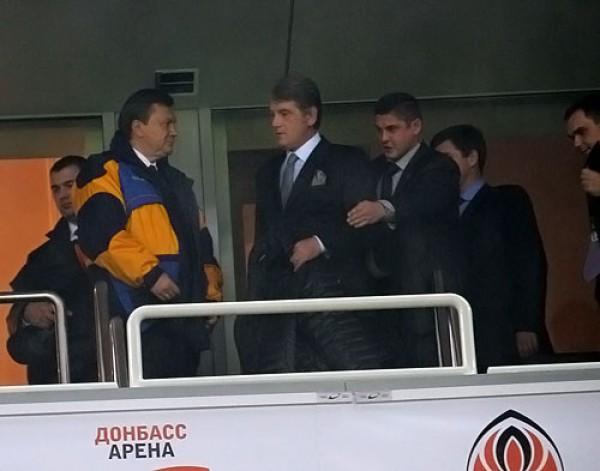 Виктор Янукович и Виктор Ющенко на матче Украина - Греция в Донецке