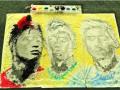 Девушка нарисовала портреты Месси, Роналду и Неймара футбольным мячом