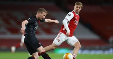 Арсенал - Славия 1:1 видеообзор матча четвертьфинала Лиги Европы