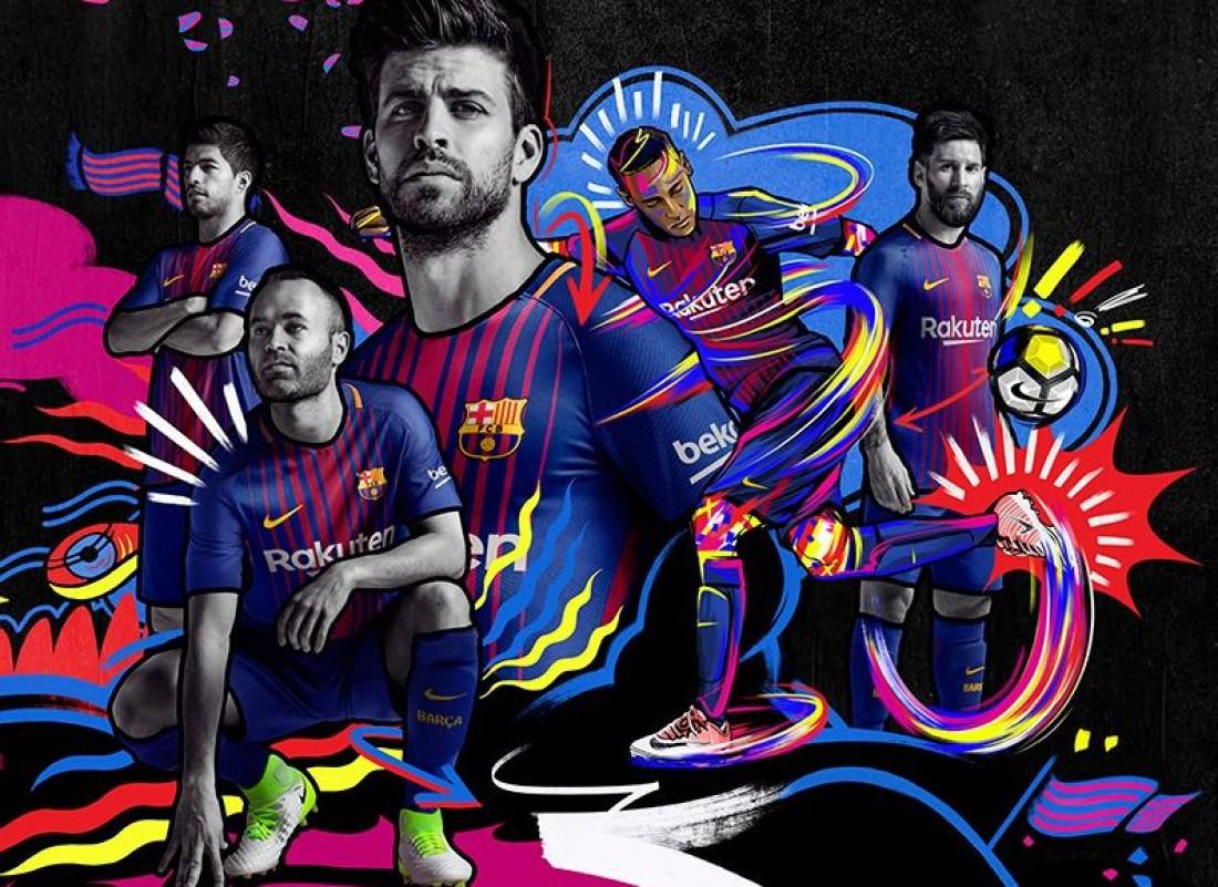 Неймар на постерах Барселоны