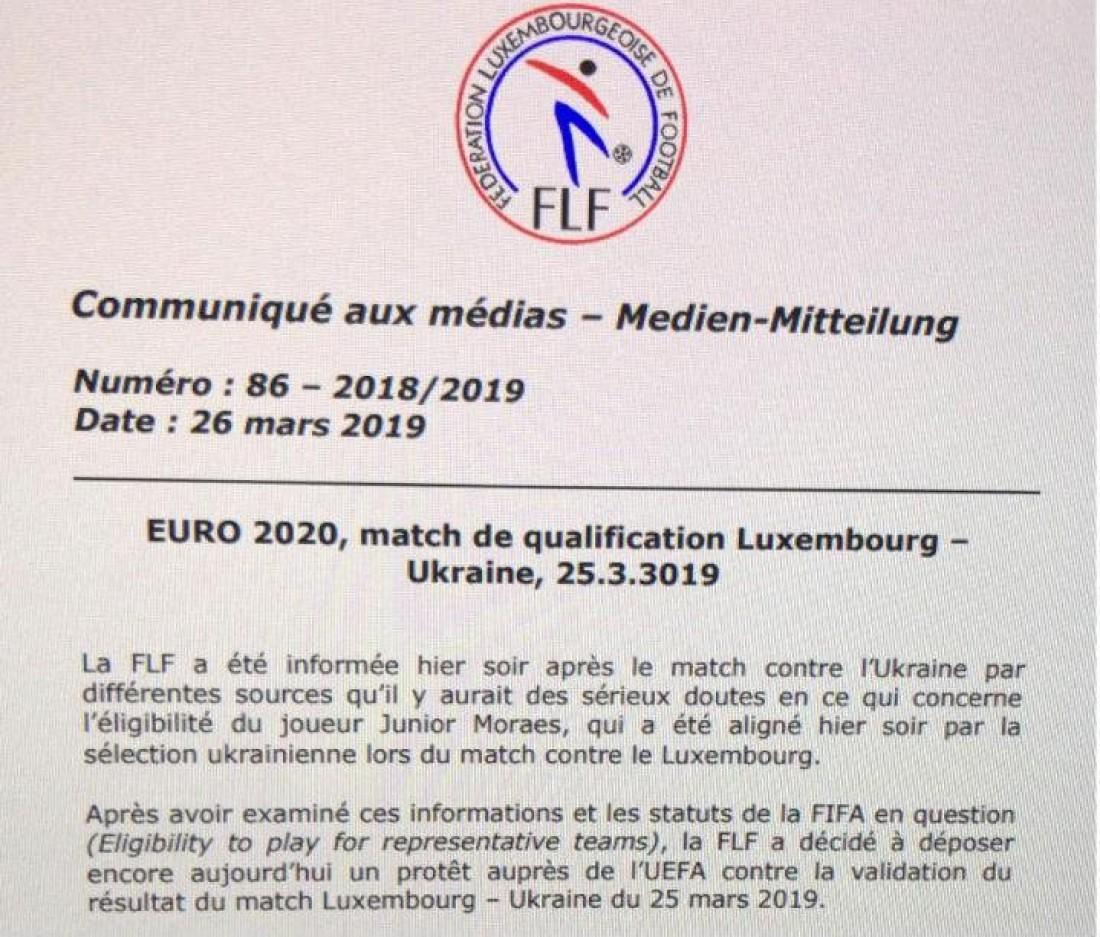 Обращение сборной Люксембурга в ФИФА