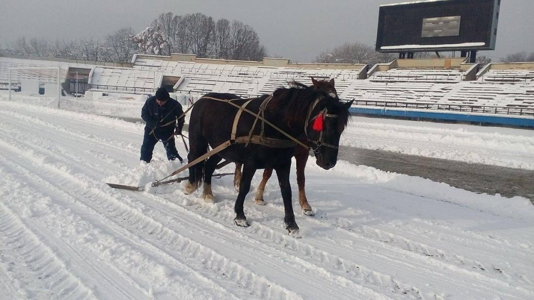 Стадион Тепловика расчищали от снега конями