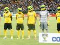 В Бразилии футболисты вышли на матч в гоночных шлемах