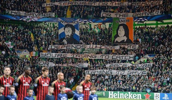 Политические баннеры на матче Селтик - Милан
