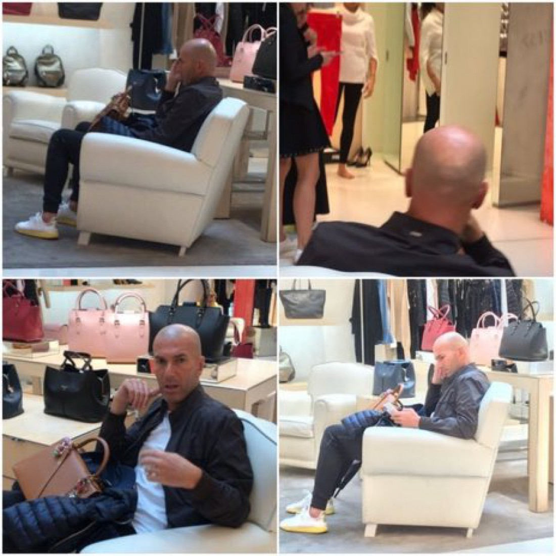 Зинедин Зидан ожидает свою жену во время шоппинга