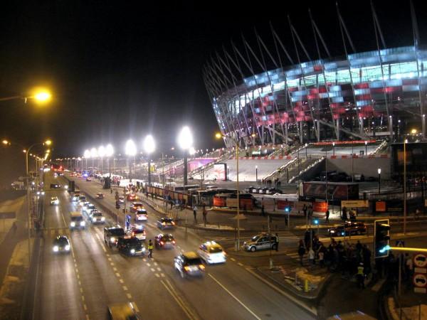 Стадион Варшавы вечером