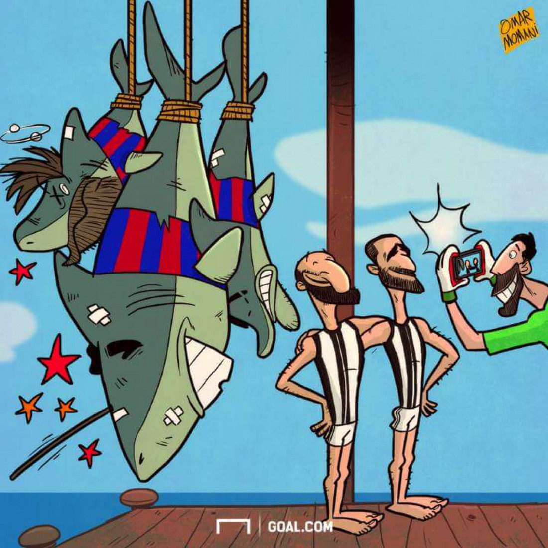 Карикатура на победу Ювентуса над Барселоной
