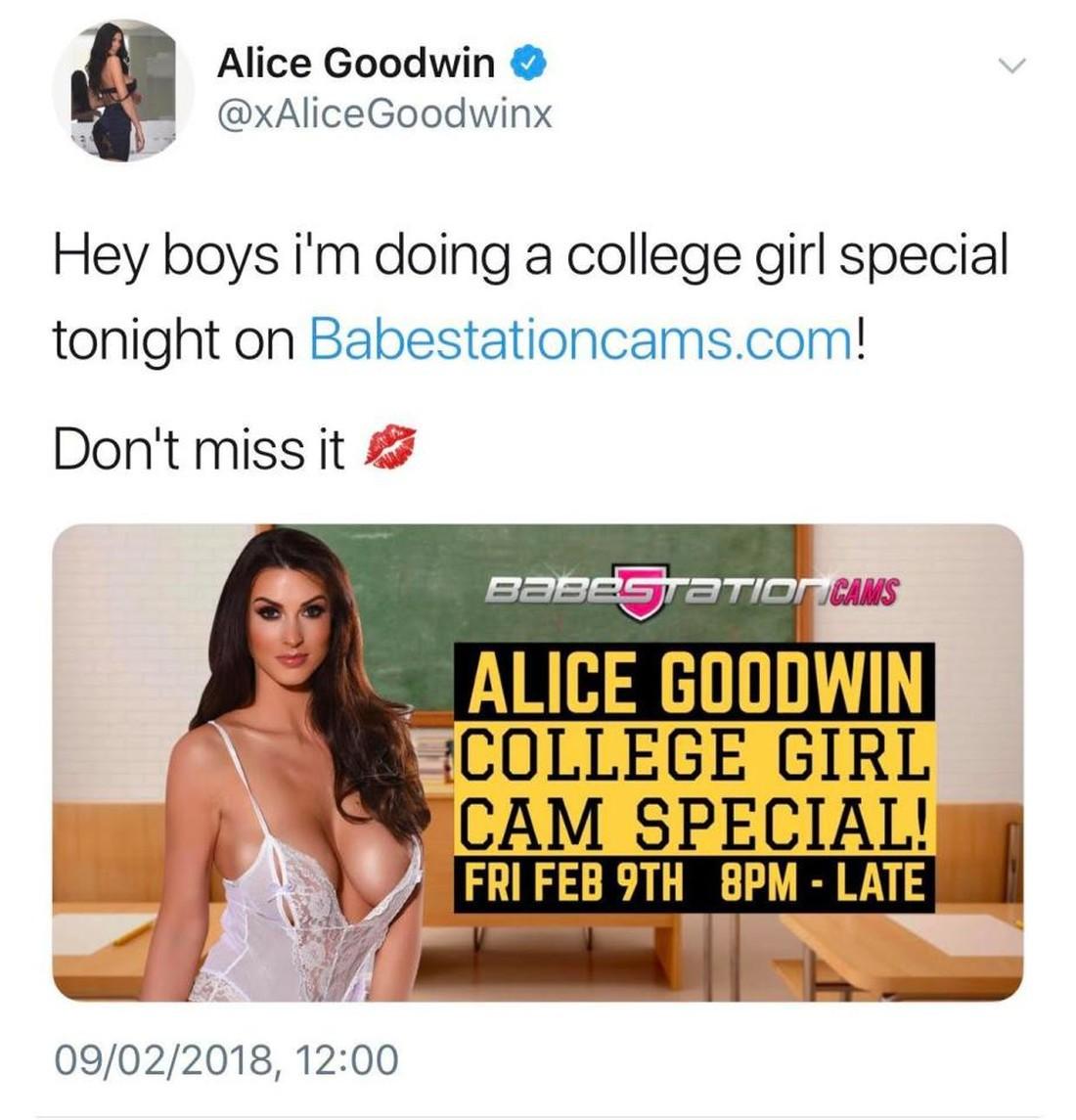 Элис Гудвин снимает видео сексуального характера
