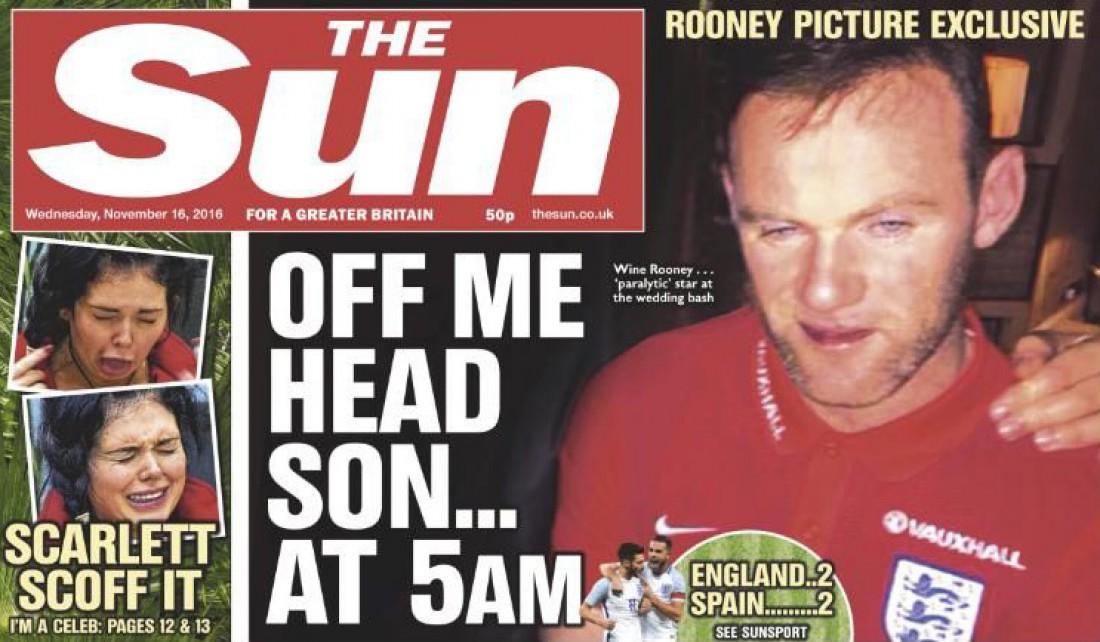 Страница таблоида The Sun с Руни на обложке