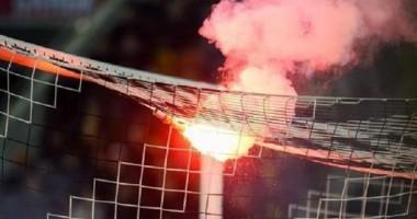 Видео эпизода, из-за которого был прерван матч Днепр - Волынь